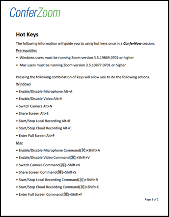 Click to download ConferZoom Hot Keys Guide PDF